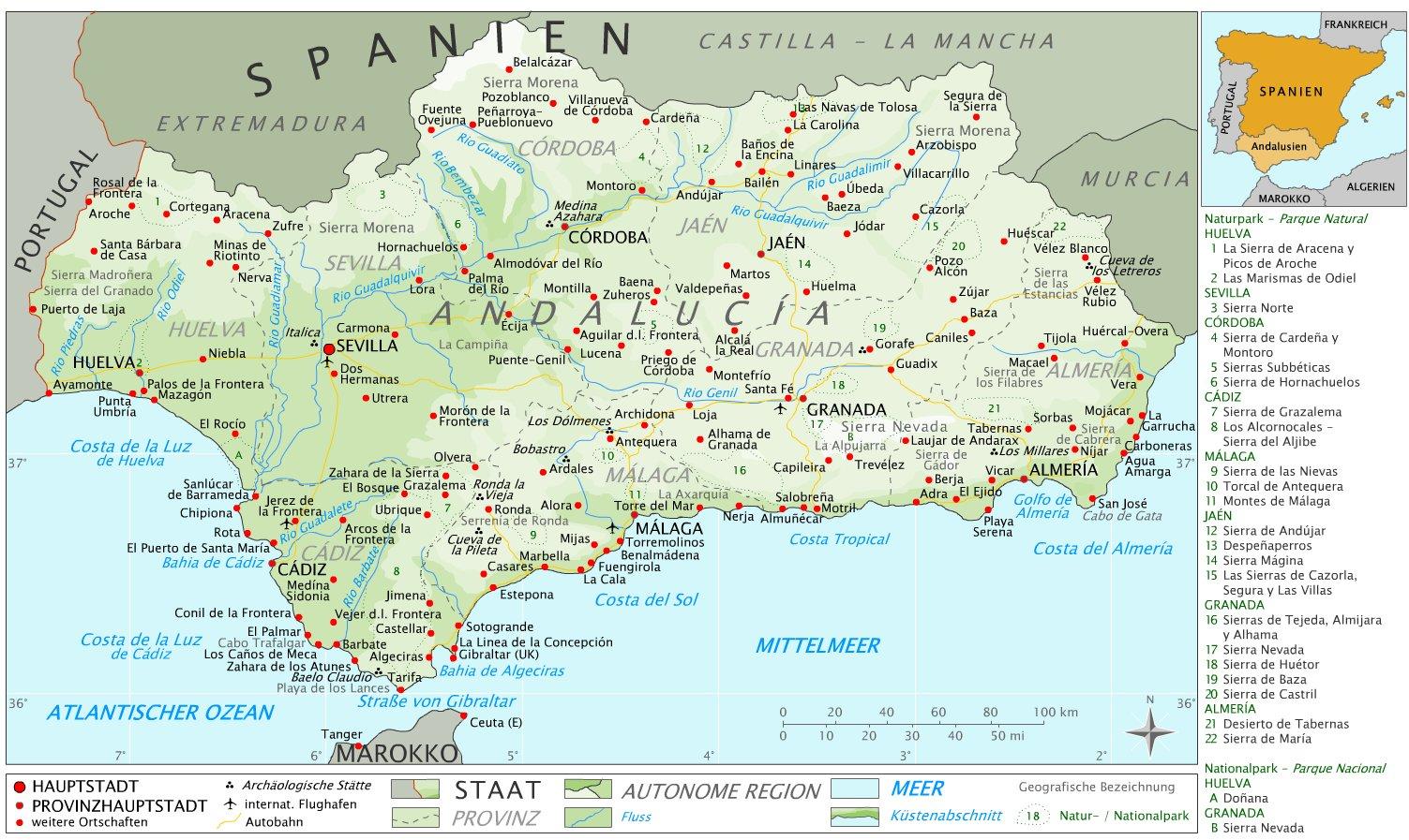 Карта Андалусии