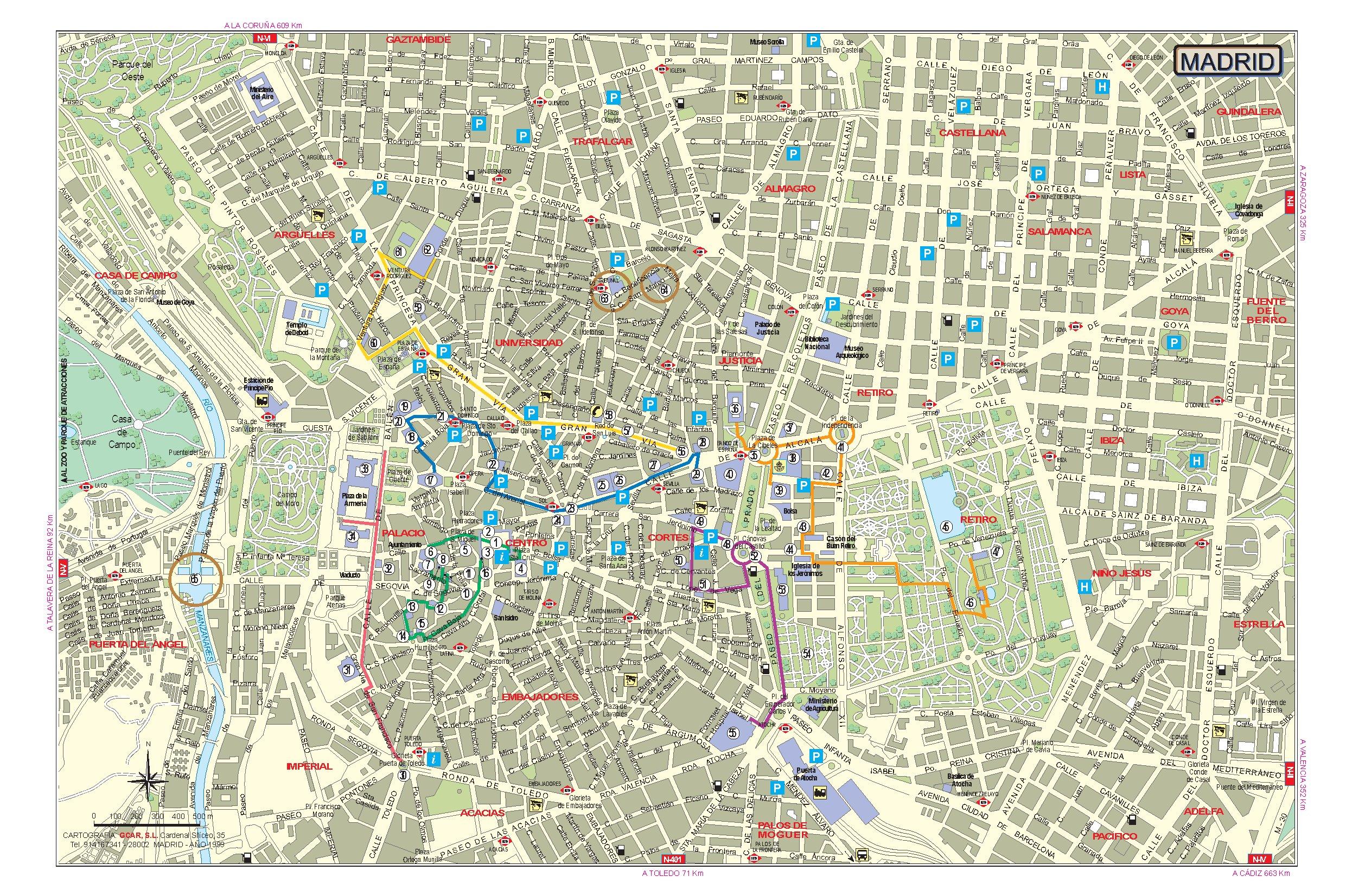 Подробная карта Мадрида