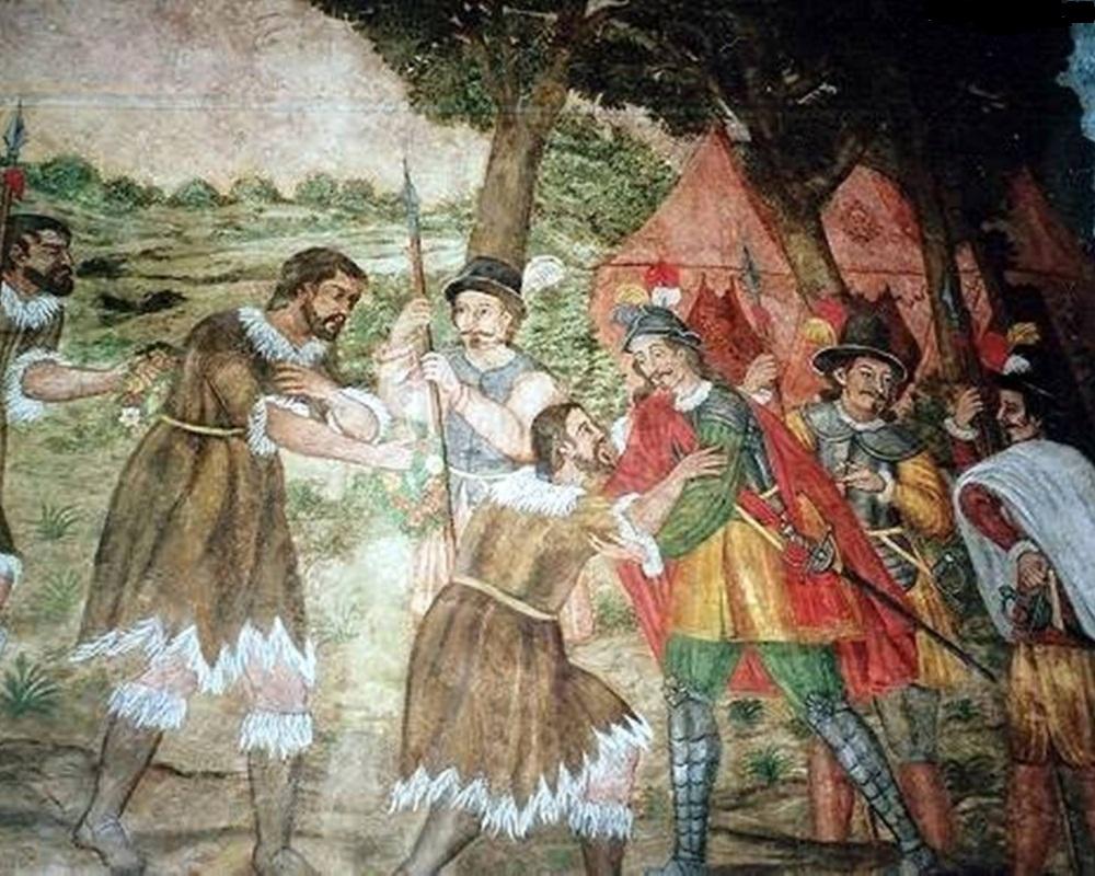 На картине изображены туземцы острова Тенерифе - Гуанчи