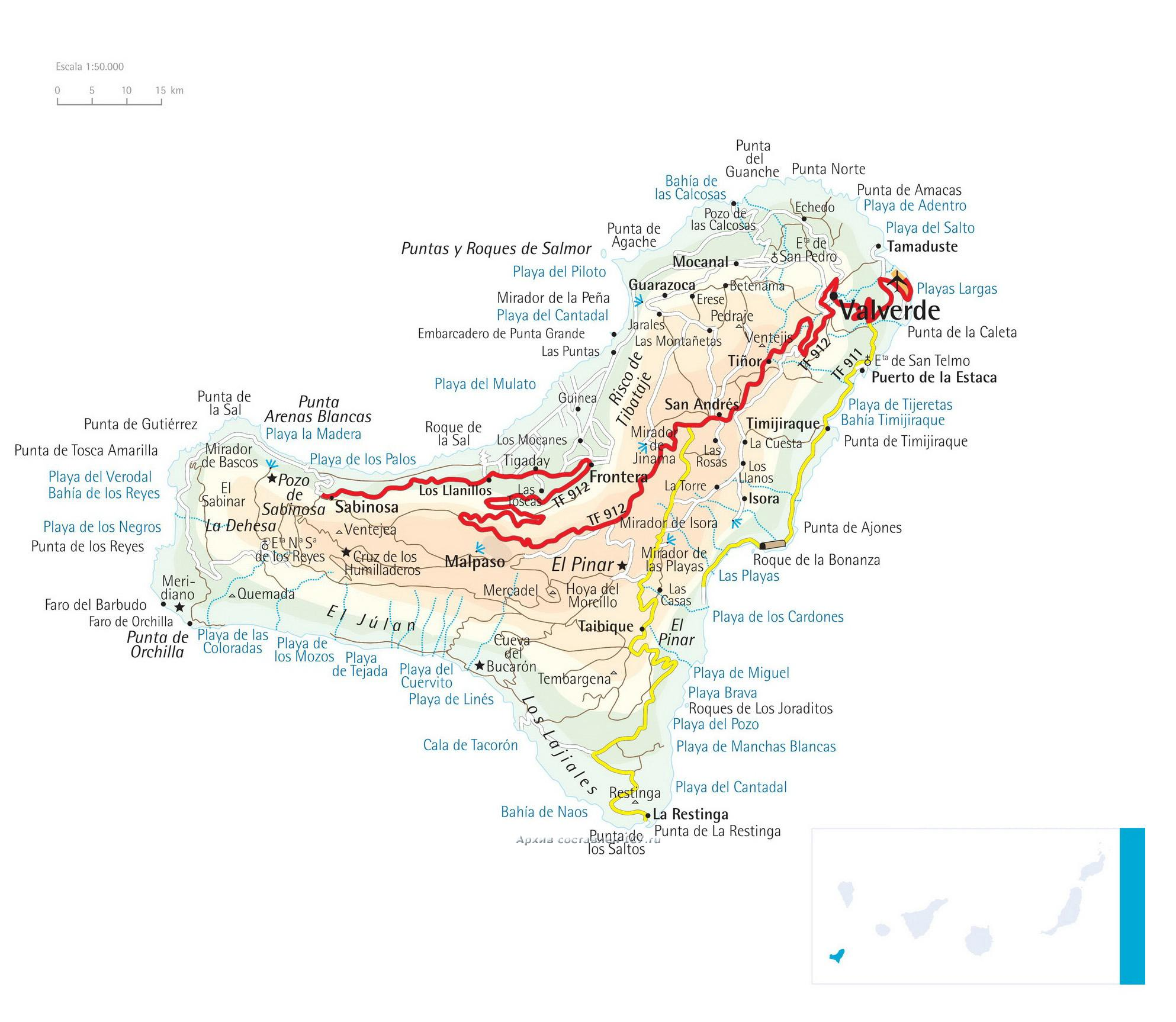 Подробная карта острова Эль Йерро