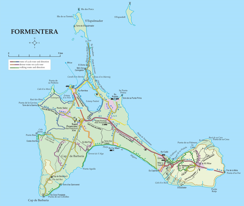 Подробная карта Форментеры