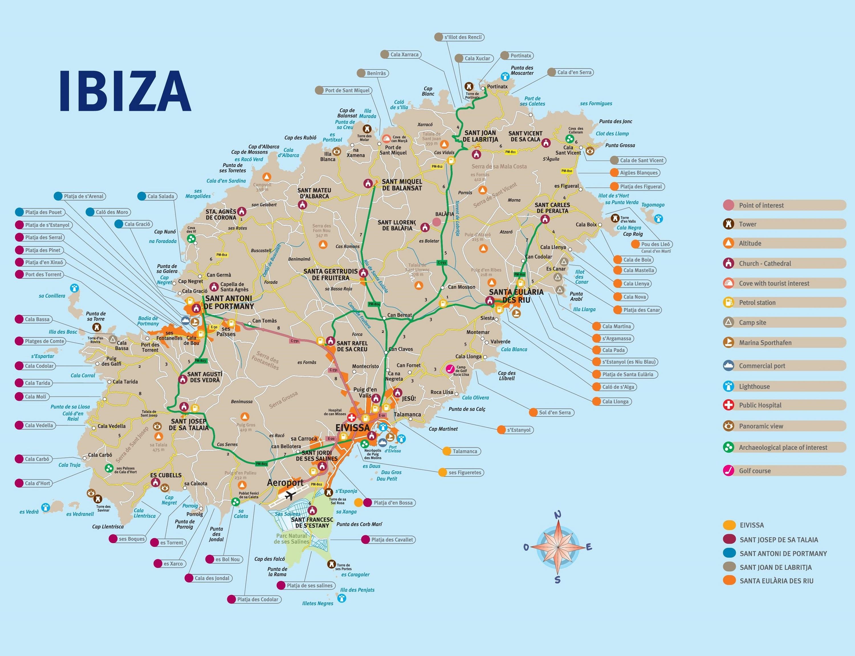Подробная карта Ибицы