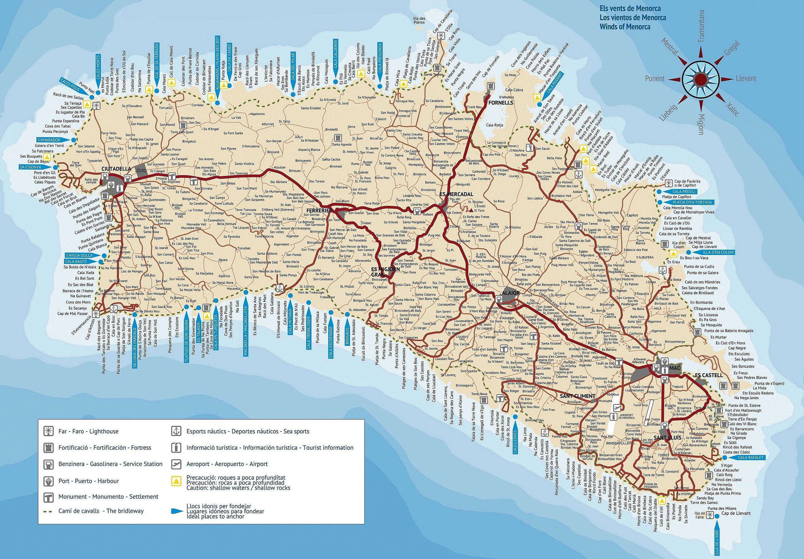 Подробная карта Менорки