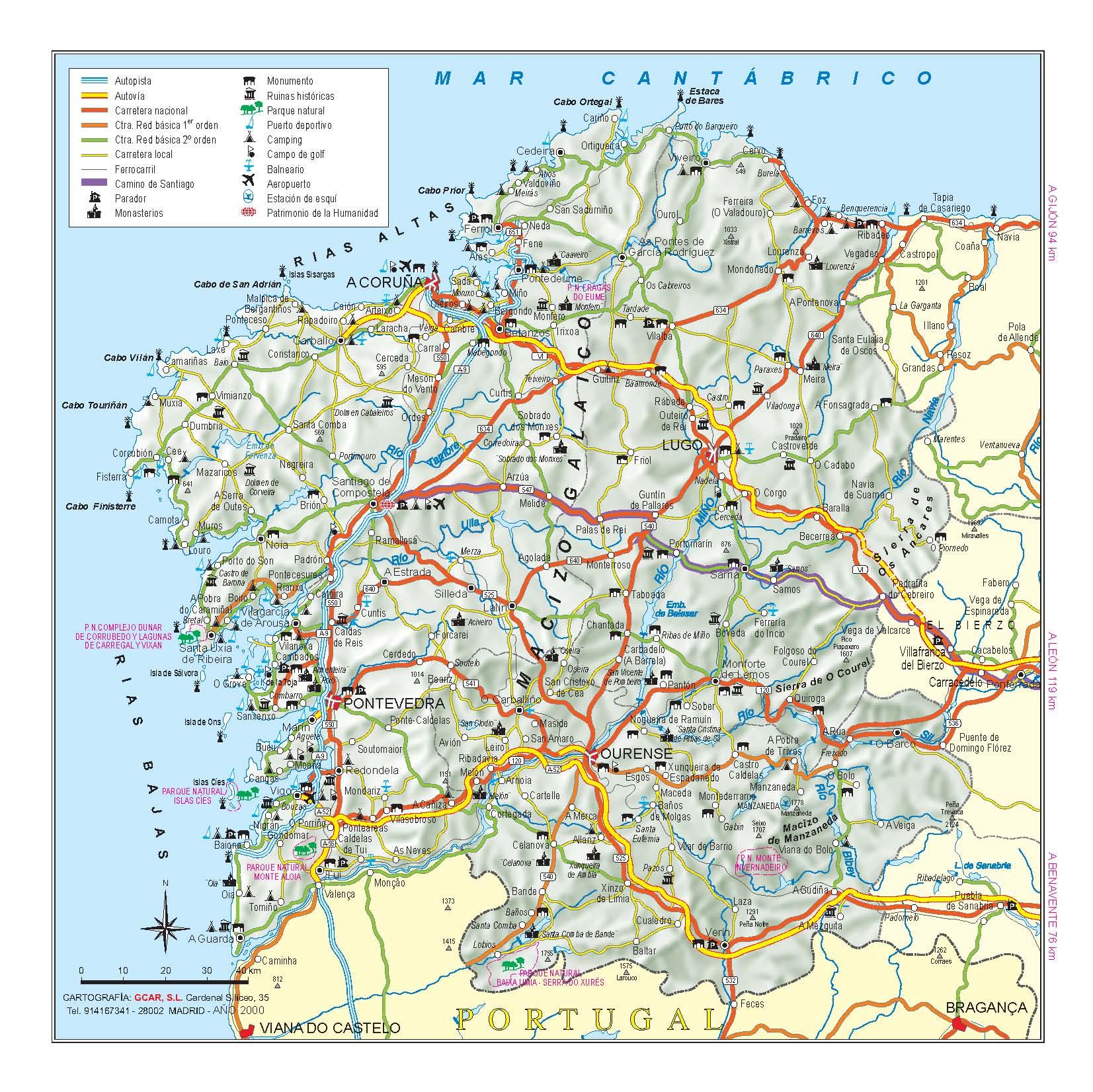 Подробная карта Галисии