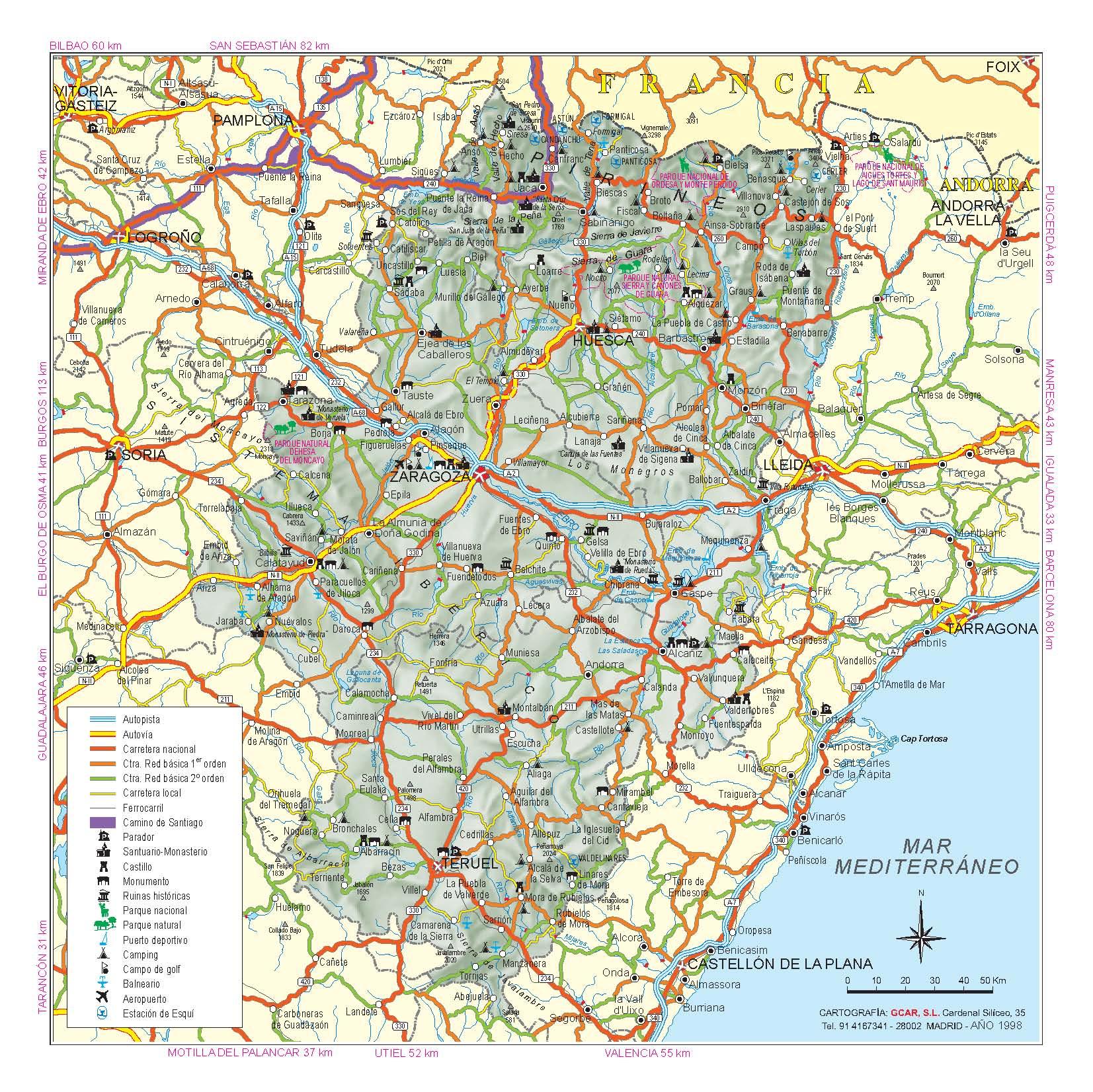 подробная карта Арагона