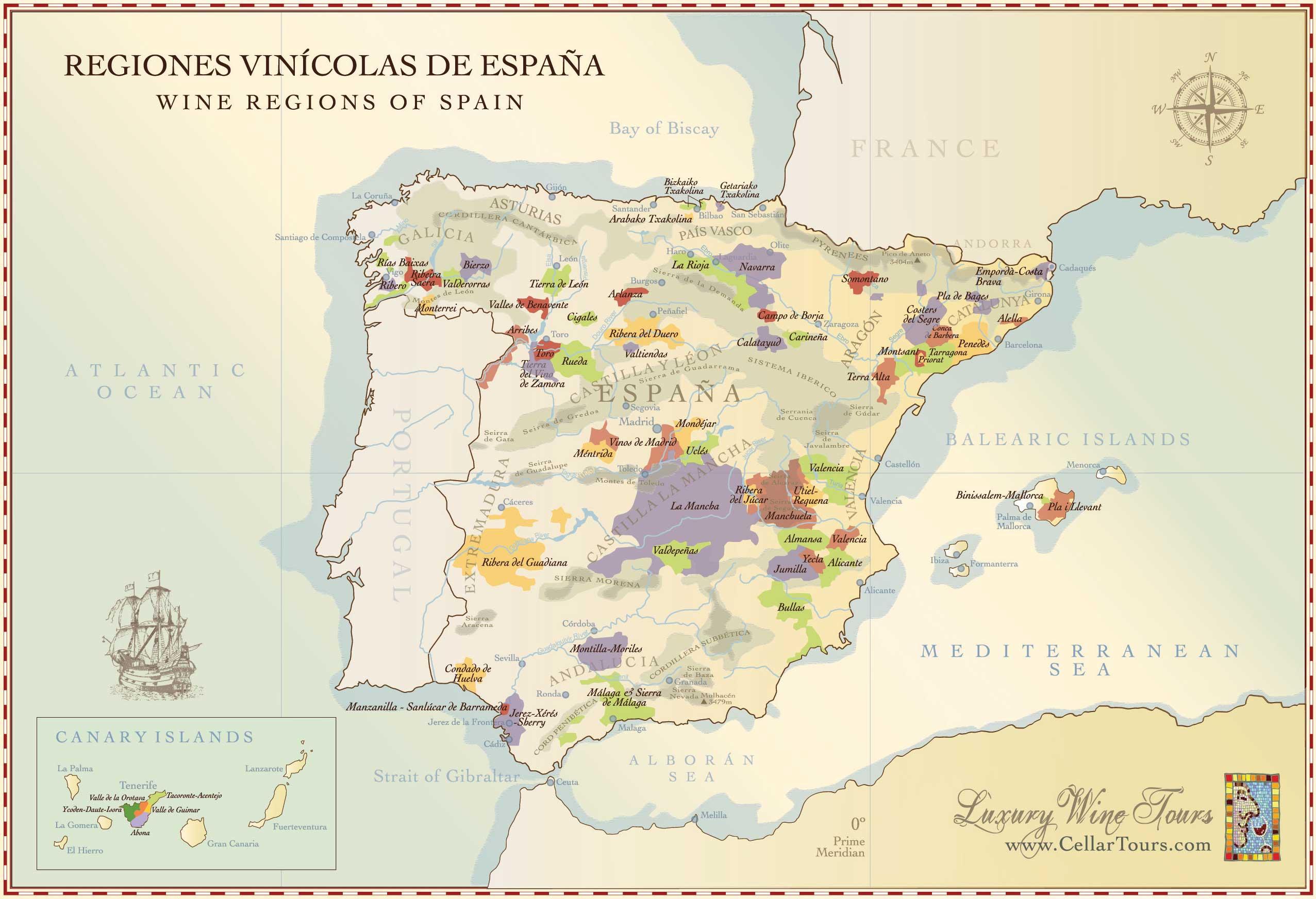 Карта испанских виноделен
