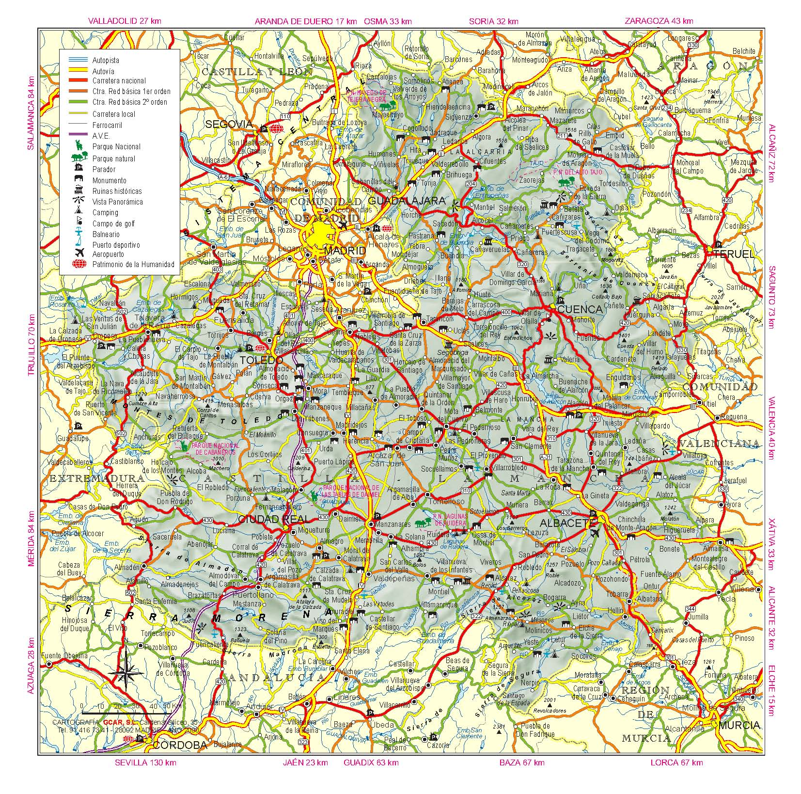 Карта Кастилии-Ла-Манчи