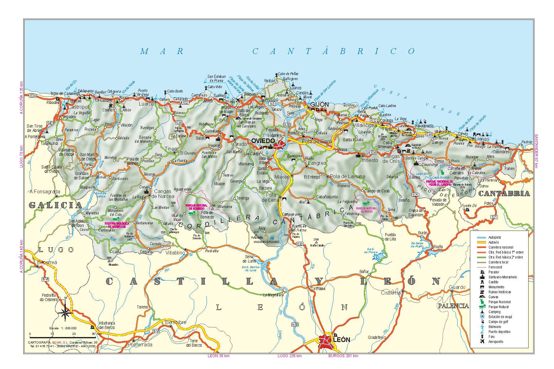 Подробная карта Астурии