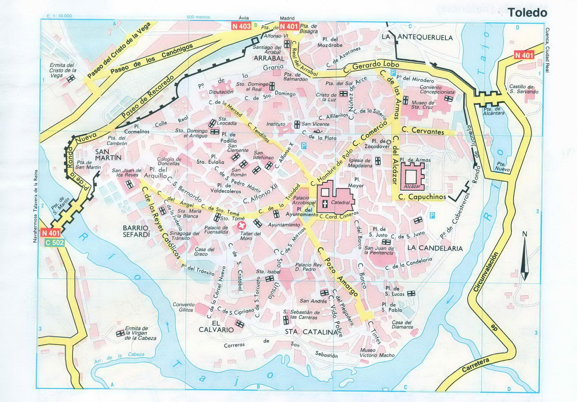 Подробная карта Толедо