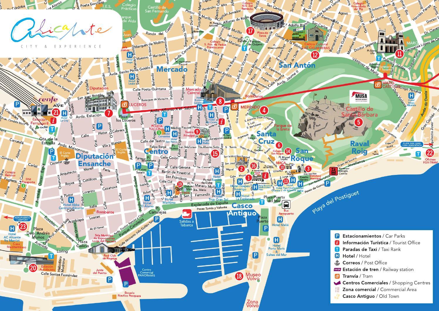 Туристическая карта города Аликанте