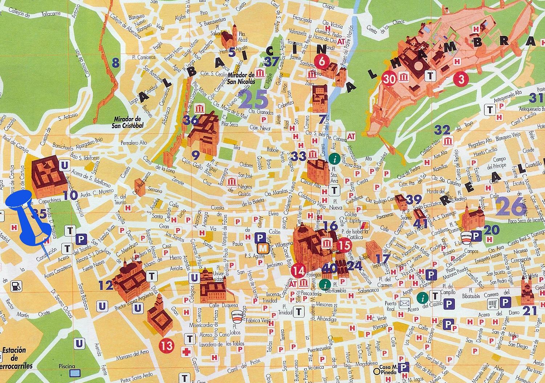 Туристическая карта Гранады