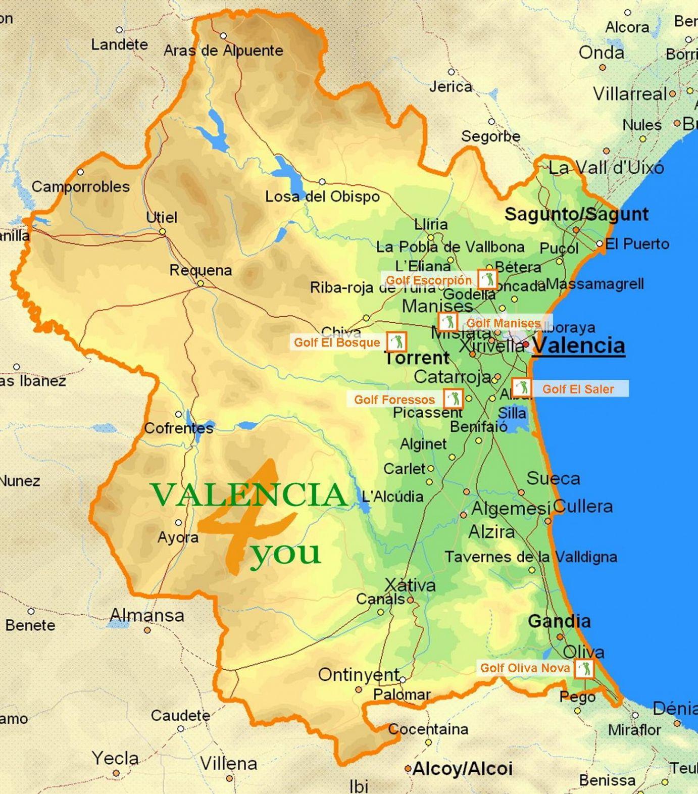 Карта Коста-де-Валенсия