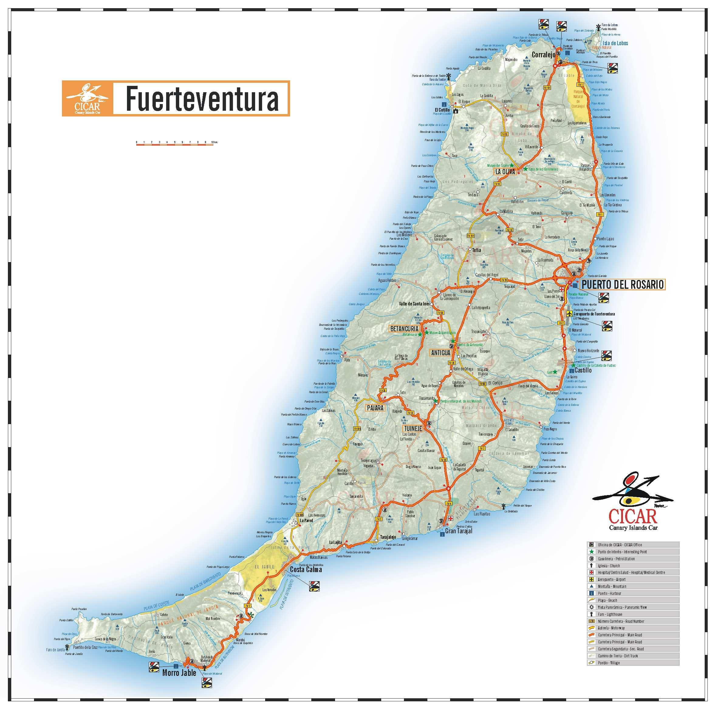 Карта острова Фуэнтевентура