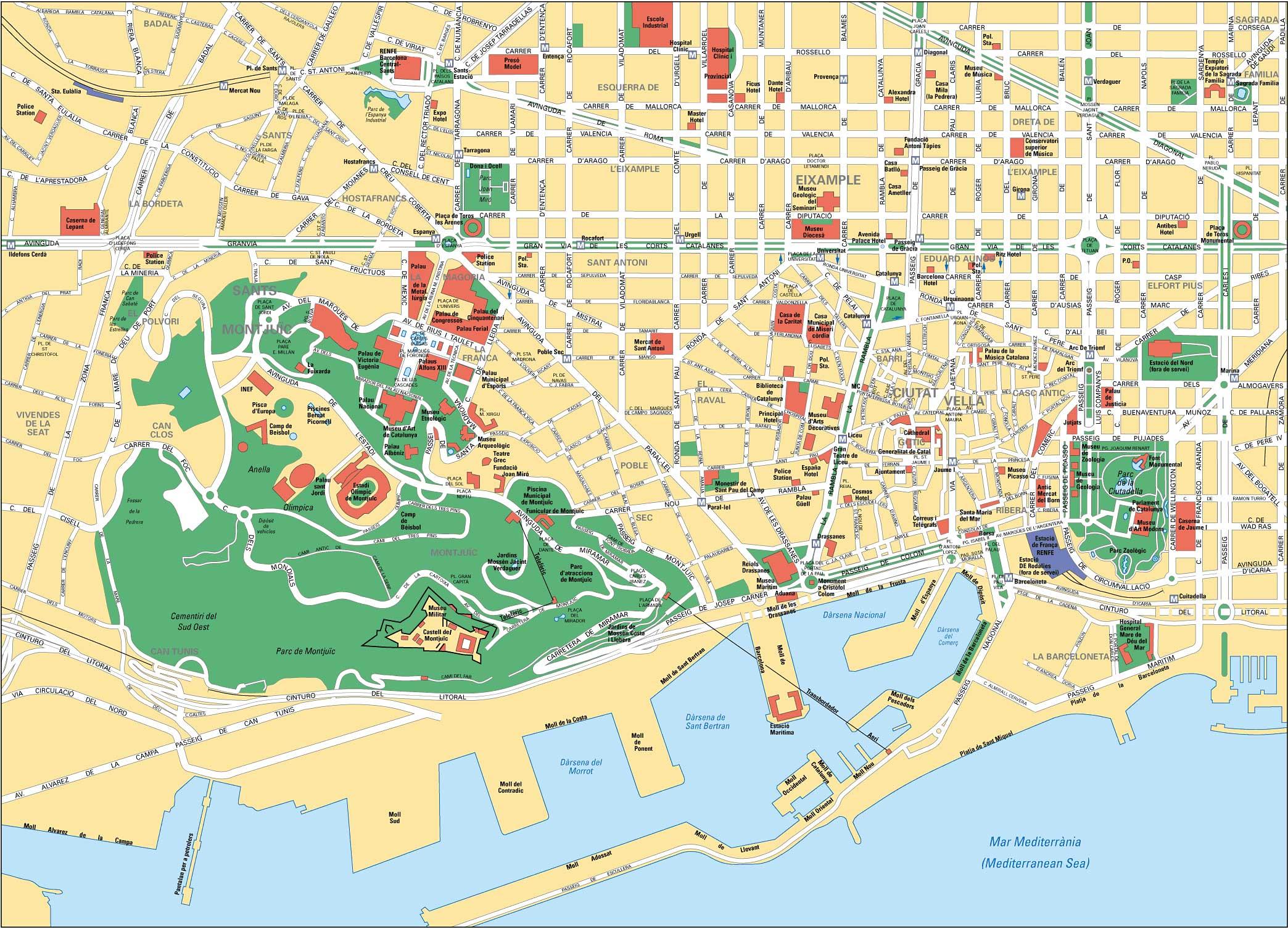 Карта Барселоны с пляжами