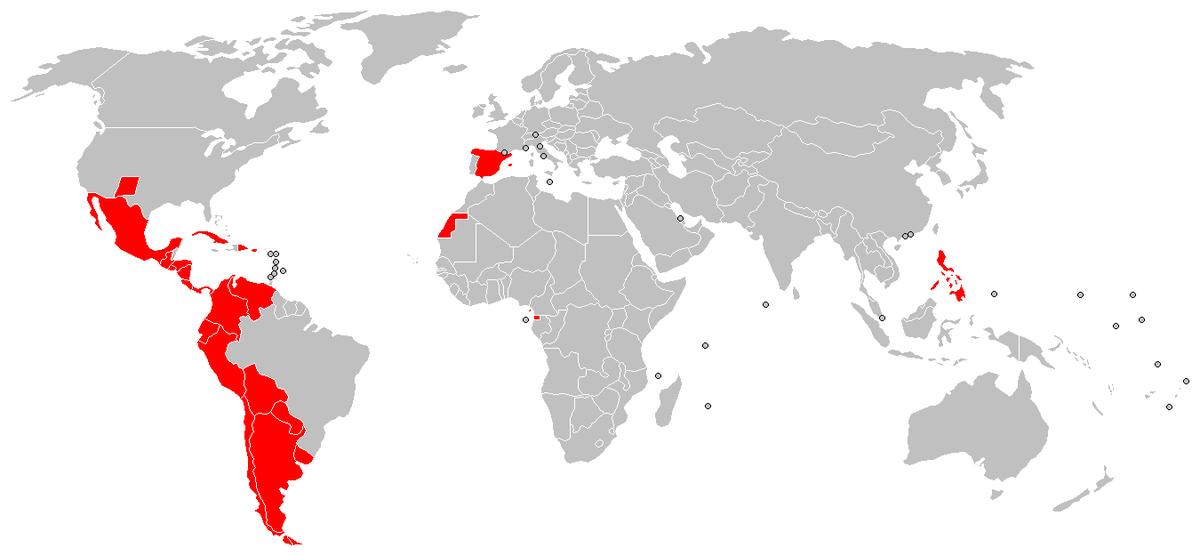 траны на карте мира, в которых официальным языком является испанский
