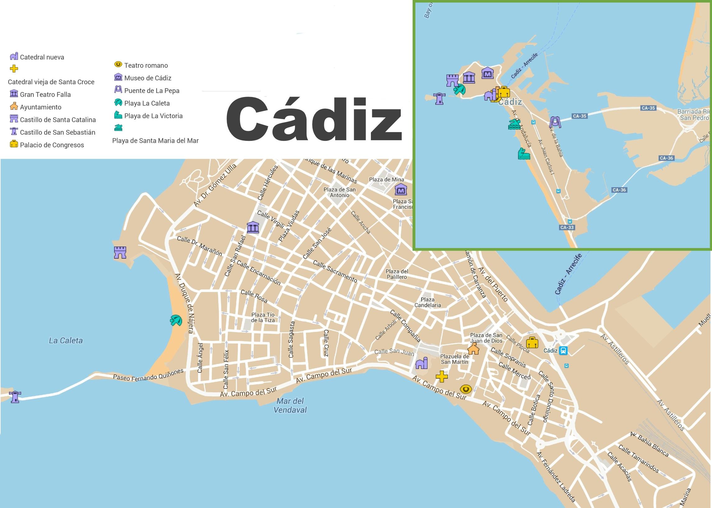 Подробная карта Кадиса с достопримечательностями