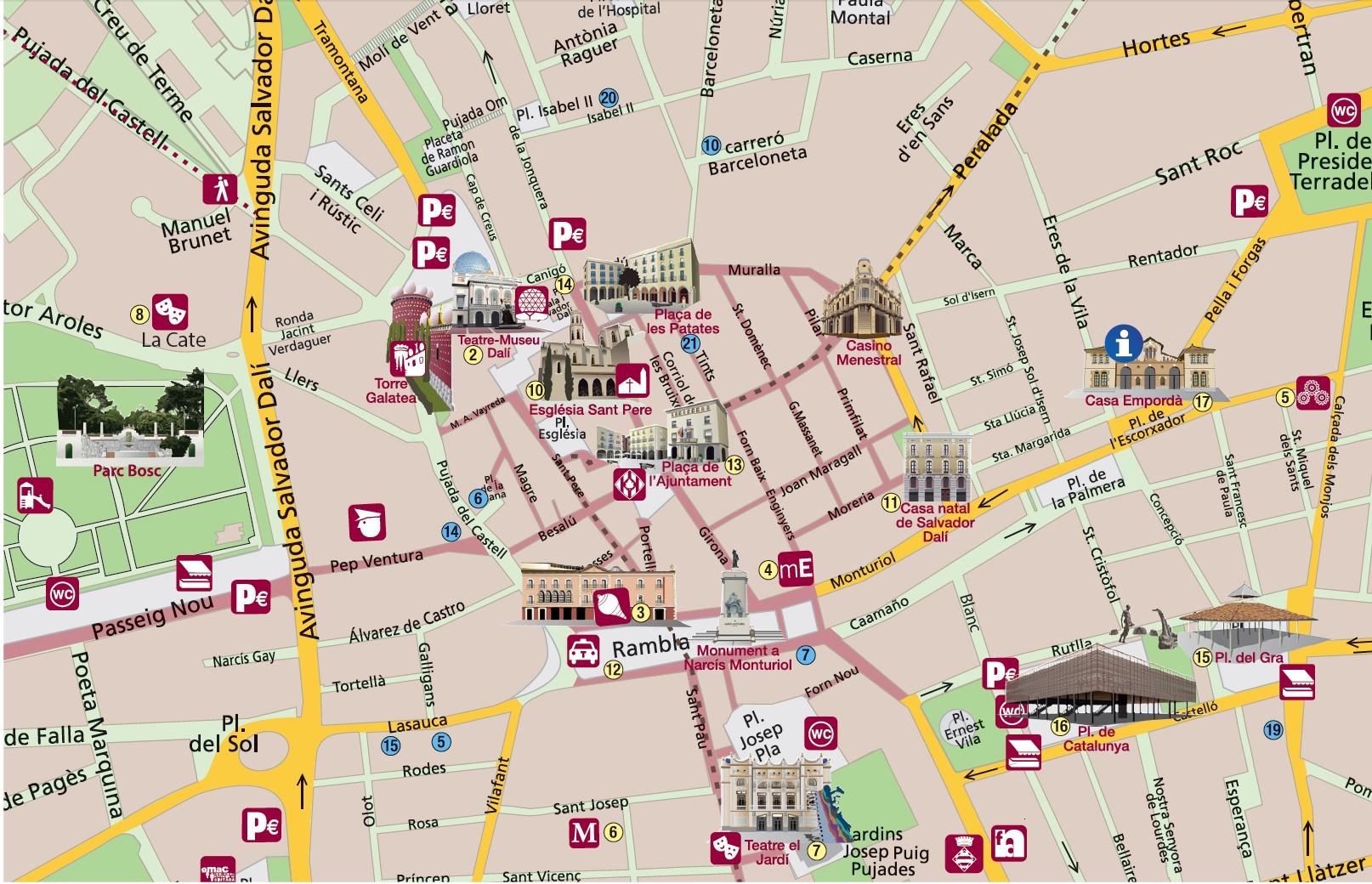Карта Фигераса с достопримечательностями
