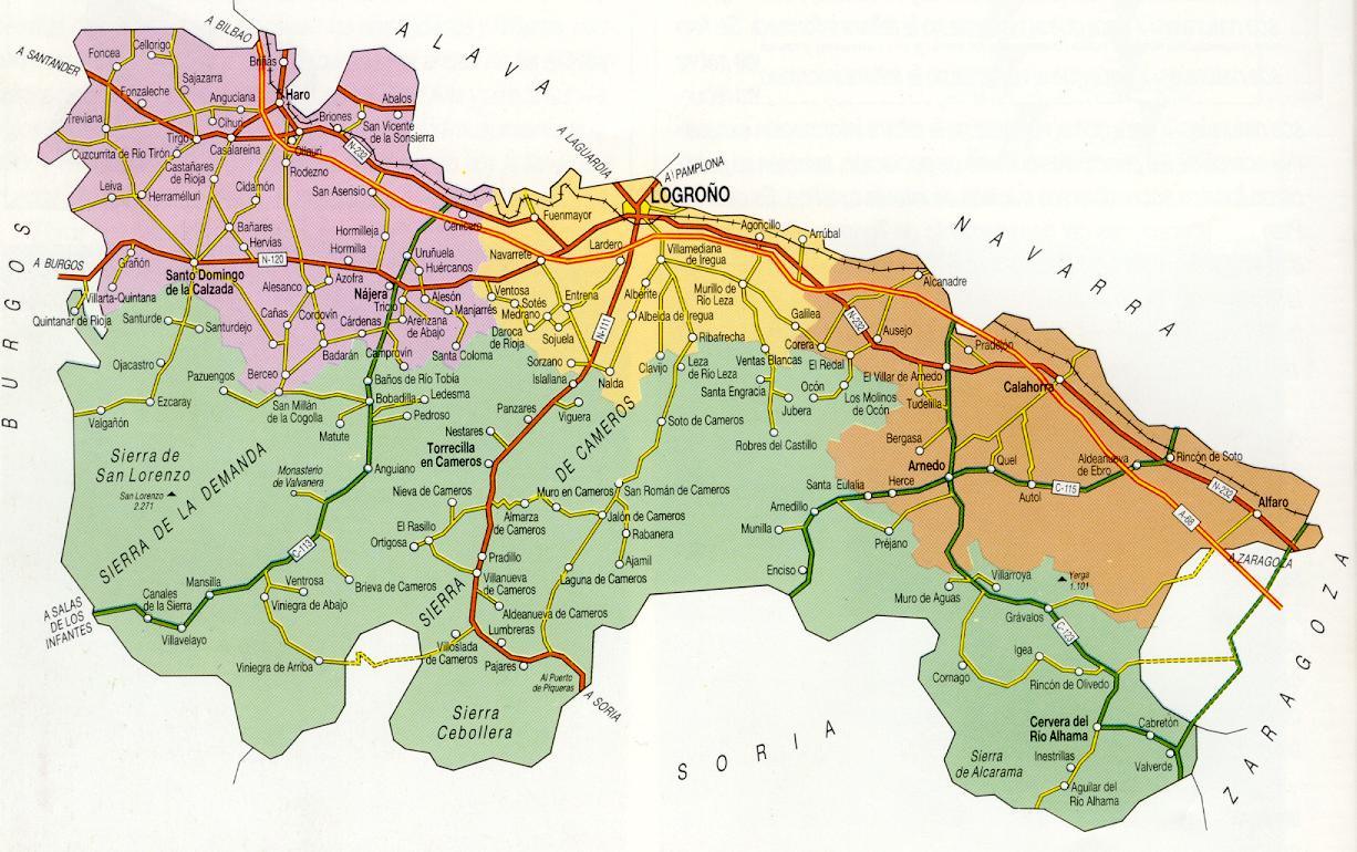 Подробная карта Риохи