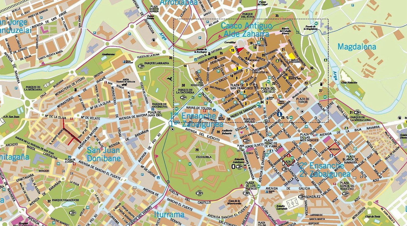 Подробная карта Памплоны