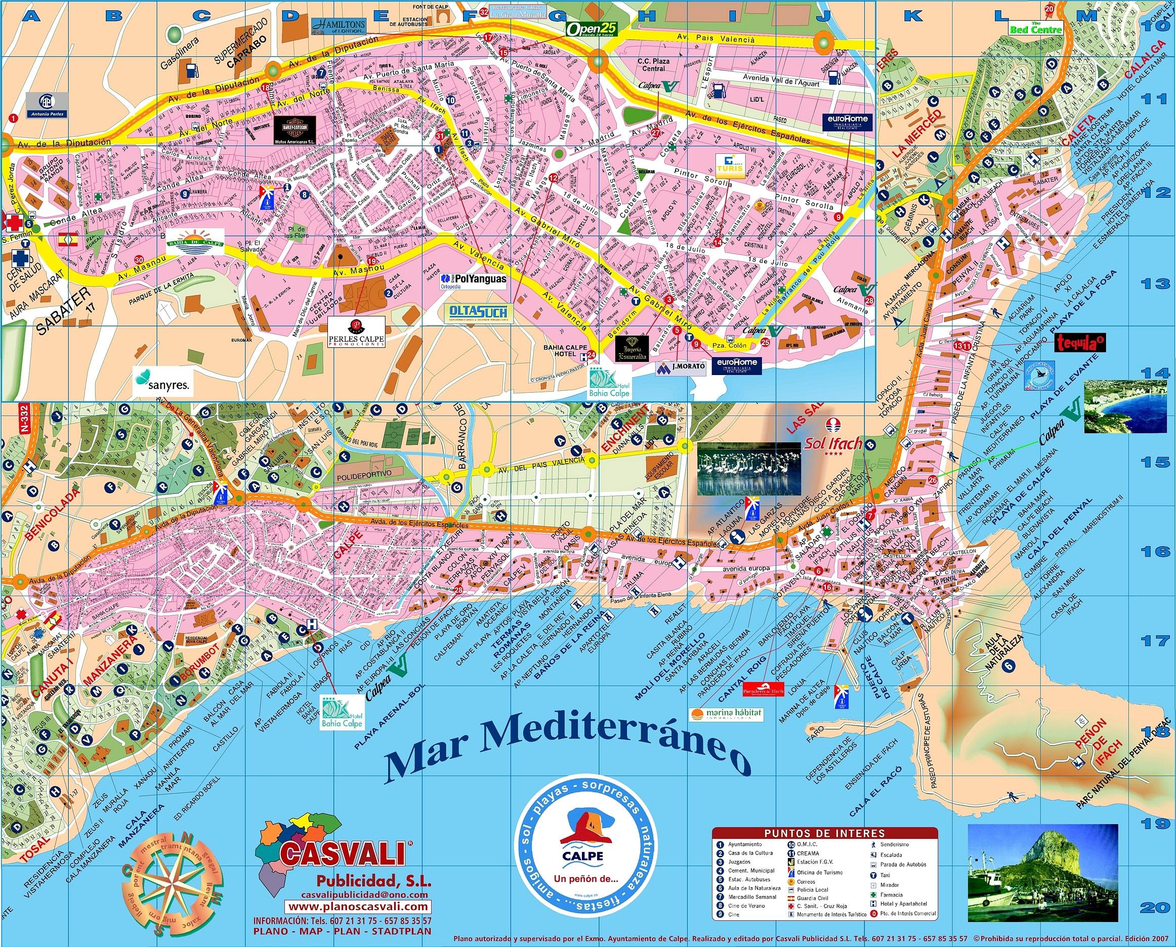 Подробная карта города Кальпе